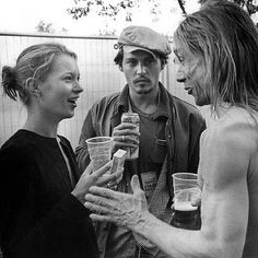 """Kate Moss, Johnny Depp and Iggy Pop. Photographed Bob Gruen."""