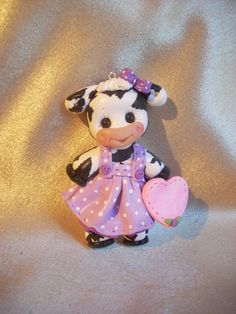 holstein cow Christmas ornament polymer clay gift by clayqts
