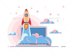 Web Start Up Flat Style by kit8 Web start up flat style. Rocket flight, promotion seo, laptop and launch, vector illustration Vector files, fully editable. Includ