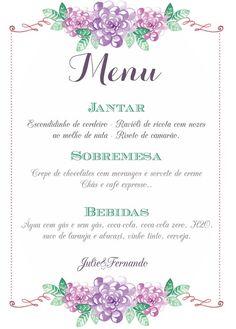 Menu para casamento #Menu #cardápio #casamento #wedding
