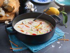 Kremet fiskesuppe - MENYs egen Fish And Seafood, Meatloaf, Food Styling, Food And Drink, Dinner, Ethnic Recipes, Soups, Inspiration, Kitchen