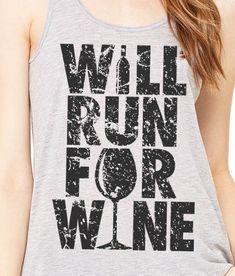 Will Run for Wine Women's Flowy Racerback Yoga by brewershirts