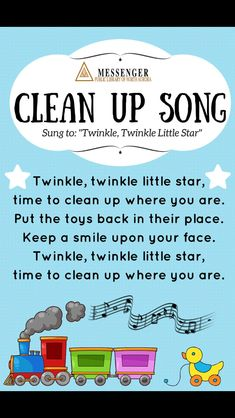 I designed a Clean Up Song poster to put in our early learning area. I was hopin… I designed a Clean Up Song poster to put in our early learning area. I was hoping that this would be a fun way to gently remind children and… Kindergarten Songs, Preschool Music, Preschool Learning, Preschool Activities, Space Activities, Best Preschool, Color Songs Preschool, Nursery Rhyme Activities, Baby Nursery Rhymes Songs