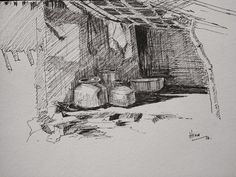 contrast study Pastel Drawing, Pen Art, Pencil Drawings, Pastels, Cottages, Contrast, Environment, Sketches, Tutorials