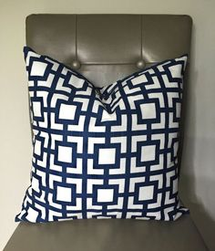 Navy and White Decorative Pillow Cover Trellis by CatandLuDesigns