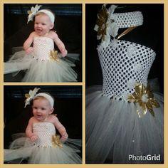 Blanco y oro Nevado princesa vestido