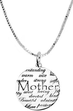 """Sterling Silver """"Mother"""" """"I Love You"""" Necklace"""