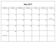 Download May Calendar 2017 With Holidays