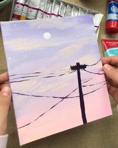 Getting some Bob Ross vibes! ❤ 👏 Artist Getting some Bob Ross vibes! Simple Canvas Paintings, Small Canvas Art, Cute Paintings, Mini Canvas Art, Easy Canvas Painting, Paintings Tumblr, Moon Painting, Sunset Acrylic Painting, Easy Acrylic Paintings