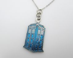 Doctor Who TARDIS Necklace in Blue Color Finish. $12.50, via Etsy.