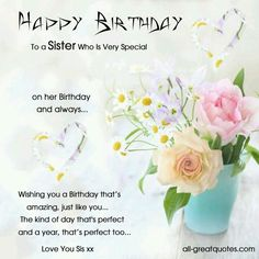 B'day wishes for sister