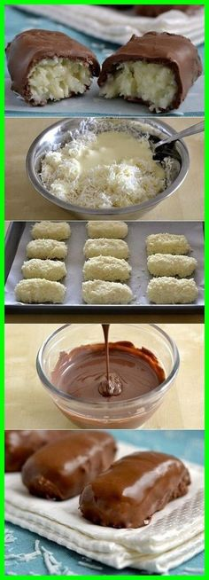 Bounty sweets in 20 minutes: Ingredients: 2 pcs - Delicious recipes Candy Recipes, Sweet Recipes, Cookie Recipes, Dessert Recipes, Confectionery Recipe, Good Food, Yummy Food, Russian Recipes, Delicious Desserts