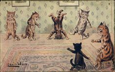Cats Dancing, Headstand Louis Wain With Cats