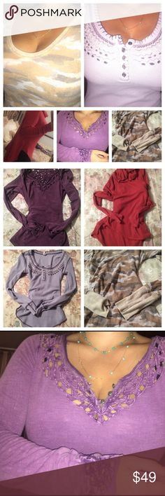 Lot Free People long sleeve Henley top tops shirt Final price✨✨Lot of 4 Free People tops.. All have been well loved but have so much wear left.. These tops are perfect to wear while you're running around town doing your errands or lounging.. So comfy&cute. I  paid anywhere from $29-60 each !!!! They do show signs of wash and wear but years of wear left!!! Price reflects condition.. Average top is size small..  Lot includes 3 long sleeve henleys and one oversized cowl neck thermal 🍁❤️ all…