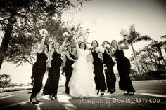 #Bridesmaids are in exquisite #black #dresses and the #bride is in extremely elegant snowy #white #wedding #gown... #Wedding picture by #DominoArts #Photography (www.DominoArts.com)
