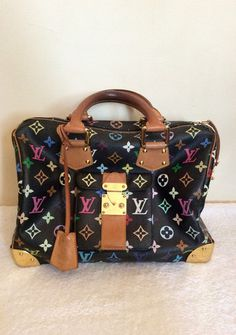 LOUIS VUITTON BLACK MULTI COLOUR SPEEDY 30 BAG - Whispers Dress Agency - Handbags - £600 Louis Vuitton Handbags Black, Lv Handbags, Louis Vuitton Speedy Bag, Leather Roll, Leather Handle, Womens Designer Bags, Vuitton Bag, Speedy 30, Cute Bags