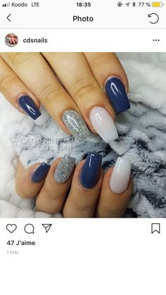 I want it same shape and height Fabulous Nails, Gorgeous Nails, Pretty Nails, Fancy Nails, My Nails, Fall Gel Nails, Silver Nails, Navy Blue Nails, Dipped Nails