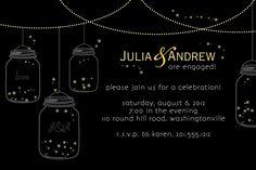 MASON JARS Fireflies Engagment Party/Bridal Shower Invitation - You Print. $15.00, via Etsy.