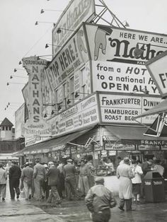 size: Photo: Nathan's Hot Dogs Food Stand on the Coney Island Boardwalk, May Brooklyn, New York City : Coney Island Amusement Park, Amusement Parks, Dog Food Stands, New York City Photos, Fine Art Posters, Brooklyn New York, Brooklyn Image, Vintage New York, Thing 1