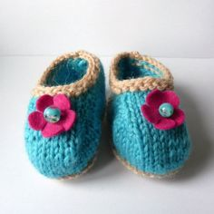Instant DOWNLOAD BABY Booties KNITTING Pattern Terrific Turquoise & Lacy Lime Baby Shoes