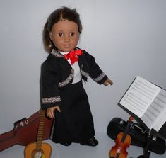 Mariachi charra suit traje black gabardine silver trim for American Girl doll Cinco de Mayo handmade Mariachi Suit, Lace Up Boots, American Girl, Dress Up, Suits, Trending Outfits, Doll Clothes, Silver, Jackets