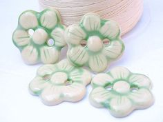 Porcelain buttons flowers  ivory green pastel couture by fireanna, $24.00