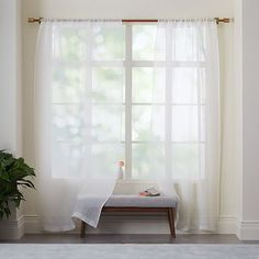 """Sheer Linen Curtain - Ivory #westelm 96"""" - $39 each.  Need 4 panels.  Ivory."""