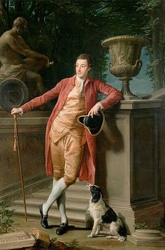 """""""John Talbot, later Earl Talbot"""" by Pompeo Batoni. In a portrait commemorating his Grand Tour, the Englishman John Talbot, later first Earl Talbot, casually poses full-length before a Roman background. Beuys Joseph, National Gallery, Google Art Project, Getty Museum, Renaissance, Italian Painters, Grand Tour, 18th Century Fashion, Stretched Canvas Prints"""