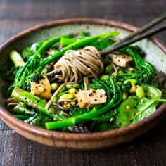 Jade Noodles- loaded with fresh seasonal veggies and a delicious Sesame Dressing. Can be served warm or chilled! Gluten-free adaptable.