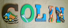 Custom Wood Nursery Letters/ Personalized in by SplendidlySassy, Circo Build It Collection, Construction Room, Construction Nursery