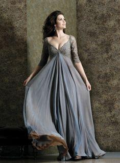 Elegant|Bescheiden Bodenlang Chiffon V Ausschnitt Lange Abendkleider