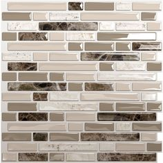 Shop Smart Tiles 10-in x 10-in Beige Mosaic Vinyl Tile at Lowes.com