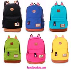 Adorable canvas backpacks with little kitty ears! Features a back zip pocket with a teeny paw zipper.