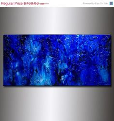 Original Textured Blue Abstract Painting by newwaveartgallery, $560.00