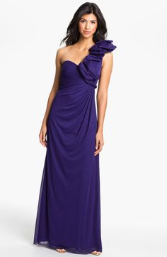 Adrianna Papell Origami Pleat One Shoulder Mesh Gown in Blue (amethyst) $168