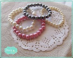 .:storin:. pearl love elastic bracelets  - more colours available  (find it at https://www.facebook.com/PequenosTesouros)