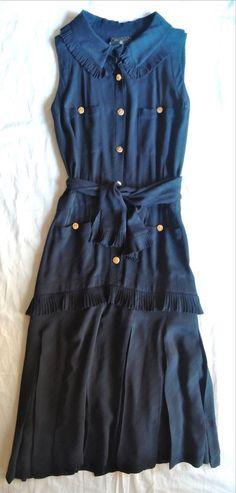 VINTAGE CHANEL NAVY SILK BELTED SLEEVELESS DRESS  on www.fullcirclefashion.com #CHANEL #Cocktail