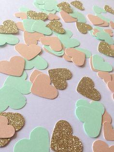 Mint green, peach gold glitter heart confetti - hand made confetti! Table decoration, wedding & party!