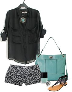 """Fun leopard shorts"" by alysia123 ❤ liked on Polyvore"