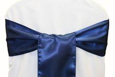 Standard Satin Chair Sash - Navy Blue
