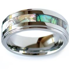 ring with abalone inlay