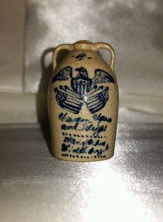 IGMA Artisan Jane Graber Miniature Crock Jug 1:12 Stoneware Eagle America 1983
