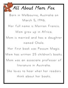 Mem Fox: Author Study for Koala Lou and The Magic Hat Literacy And Numeracy, Sequencing Activities, Book Activities, Book Study, Writing A Book, Mem Fox Books, 1st Grade Books, Magic Hat, Author Studies
