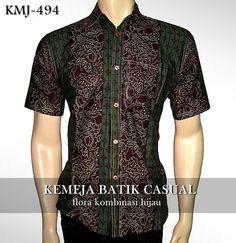 Kemeja Batik Casual Modern   Flora Kombinasi HIJAU   KMJ-494