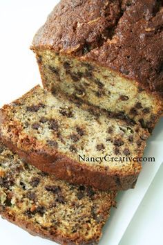 I adapted this banana bread recipe from one I saw at Lovin' from the Oven, making a few small changes. I've also made it before with a glaze and more chocolate chips sprinkled on top, which is incl...