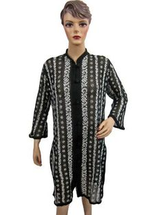Womens Kurti Tops- Black White Floral Embroidered Georgette Tunic Blouse Medium Size Mogul Interior. $34.99
