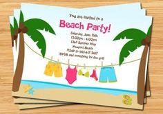 Beach Party Invitation Laundry Line