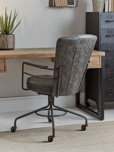 Industrial Style Office Chair - Home Office Chairs - Occasional Chairs - Seating - Furniture Industrial Home Offices, Industrial Office Chairs, Home Office Chairs, Industrial Furniture, Home Office Uk, Industrial Style Furniture, Industrial Apartment, Office Desks, Loft Furniture
