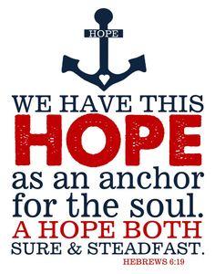 Bible Verse Hebrews 619 Hope Anchors Soul Print by TheEducatedOwl