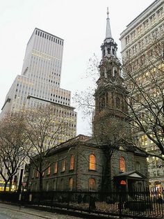 Saint Paul's Episcopal Chapel (rear view), 209 Broadway, New York City, was completed in 1766 and is the oldest public building in continuing use in New York City. December 6, 2013.